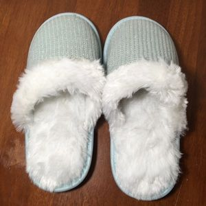 Sparkling Mint Green & White Faux Fur  Slippers